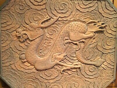 """Magnificent Antique Large 28"""" x 22"""" Chinese Wood Carving Dragon"""