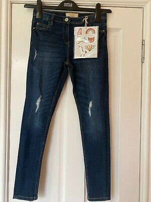 Next Girls Jeans Age 11 Years Skinny Fit Blue Ripped Adjustable Waist
