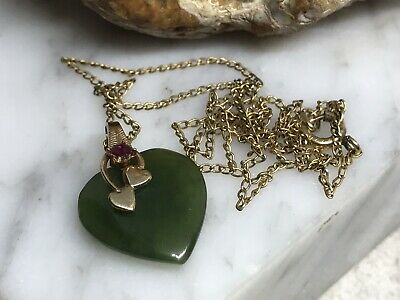 """Vintage Gold Filled Ruby Green Jade Heart Pendant 16"""" Choker Chain Necklace"""