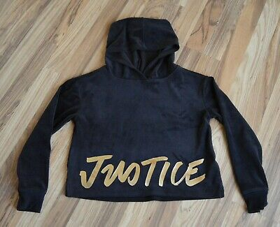 Justice Black Velour Hoodie Girls Sz 10 Gold Lettering