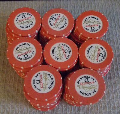 ALADDIN CASINO HOTEL THE LONDON CLUB ROULETTE gaming poker chips ~ lot of 80