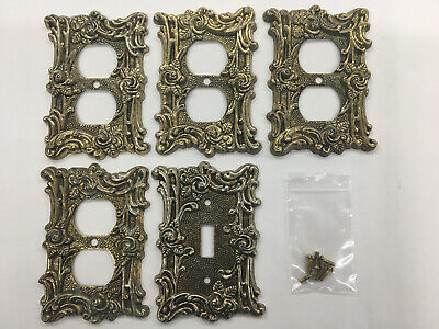 Vintage 1967 Brass Victorian Rose Wall Plate Lot 4 Outlet 1 Switch W/Screws B33g