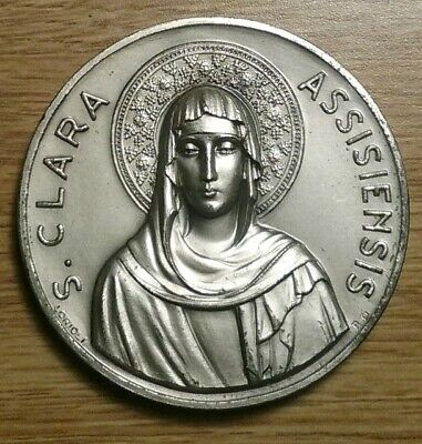 🏆 Large Heavy 1253 1953 Saint CLARA Religious Medal St. Ste. Silver on Bronze
