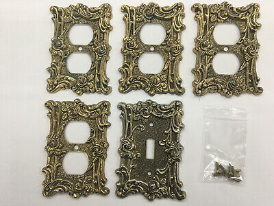 Vintage 1967 Brass Victorian Rose Wall Plate Lot 4 Outlet 1 Switch W/Screws B33i