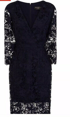 Paper Dolls @ Next Size 12 Navy Blue Wrap Mock Crotchet Lace Dress New With Tags