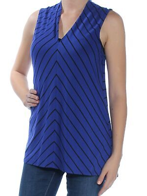 VINCE CAMUTO Womens New 1633 Blue Striped V Neck Sleeveless Casual Top 14 B+B