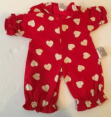 Vintage Tagged 1987 One Piece Doll GUND Red Hearts Jumpsuit Outfit