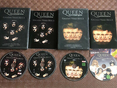 QUEEN GREATEST VIDEO HITS VOLUMES 1 & 2 DVDS - 4 DISCS + sleeves + booklets
