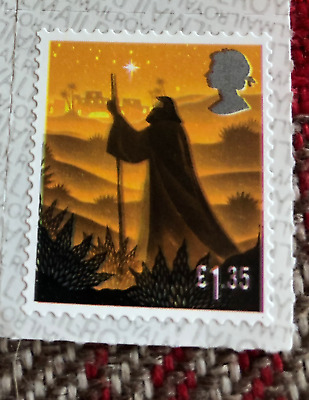 2019 GB Christmas Stamp £1.35 ERROR with black colour shift to left