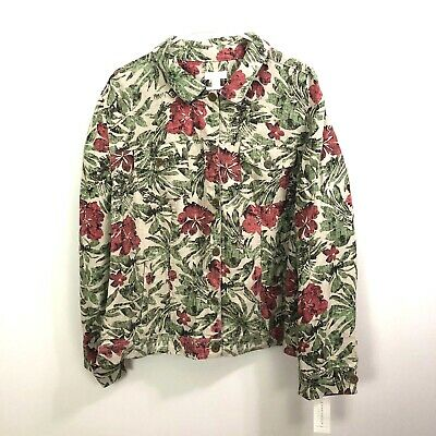 Charter Club  Womens Jacket 3X Linen Floral Green Red Button Front Tropical