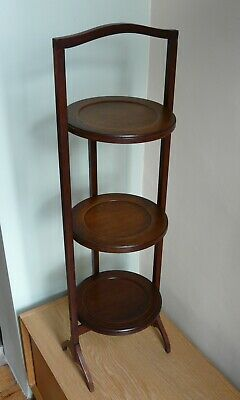 Vintage Antique Edwardian Inlaid Mahogany Wooden Folding Cake Stand