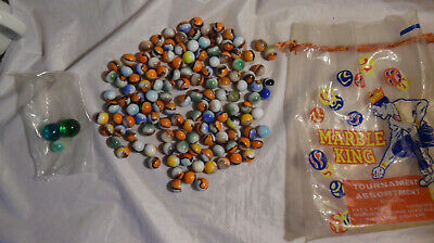 Vintage MARBLE King Tournament Bag Shooters LOT OLD Glass MARBLES
