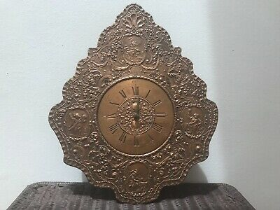 Arts And Crafts Hand Wrought Solid Copper J. Heichlinger Cherubs Wall Clock