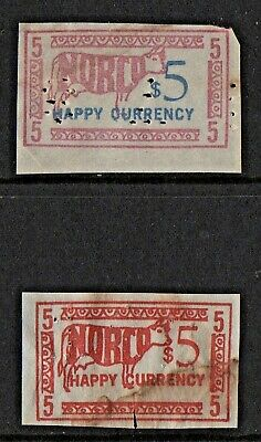 Norco Happy Currency $5 Stamps - Both With Perfins - Low Start Price