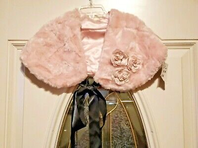 NWT Lovely Little Girls Pink Faux Fur JM Originals Dress Shrug Cape Size 4-6X