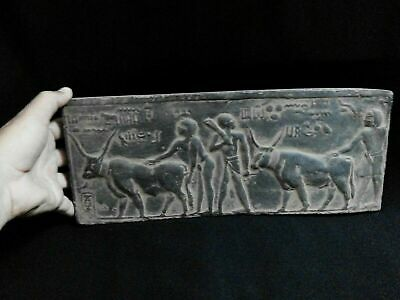 EGYPTIAN ANTIQUE ANTIQUITY Farmers Plowing Field Stela Stele 1100-1001 BC