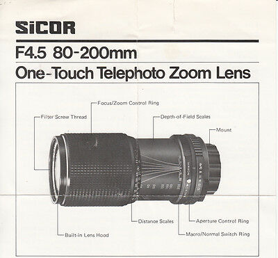 *Sicor  One-Touch Telephoto Zoom Lens F4.5 80-200 Mm No Digital Cameras
