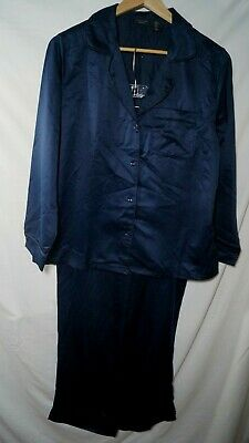 Tahari Notch Collar Satin Pajamas Long Sleeve Deep Blue Medium NWT