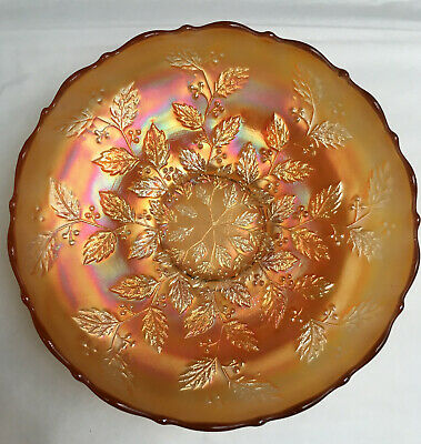 Marigold Carnival Glass Holly Bowl *Spectacular*