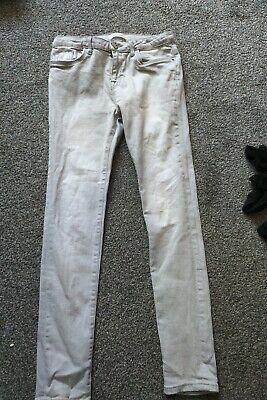 River Island Pale Grey Jeans Age 12 Adustable Waist Skinny Leg distressed