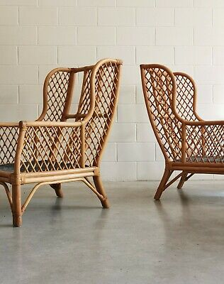 Vintage Rattan High Wingback Lounge Chair Cane Mid Century Armchair 60s 70s