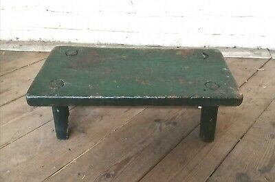 Antique Vintage Painted Green Stool Folk Art Country Furniture