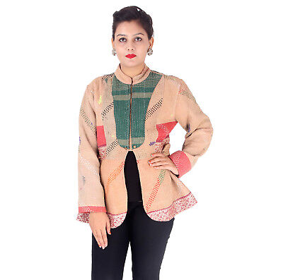 Handmade Kantha Quilted Jacket Indian Long Women Blazer M Size Coat