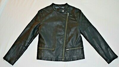 Gap Kids Girls Leather Look Moto Biker Jacket Lining Age 12-13 Xl 150 CM 150/76