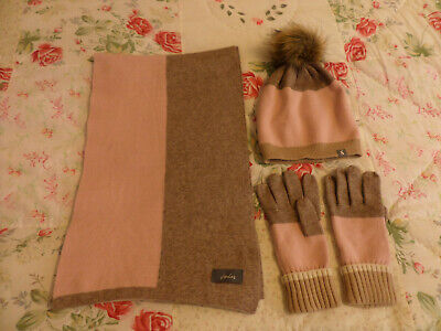 Joules pale pink & taupe bobble hat, gloves and scarf set BNWOT