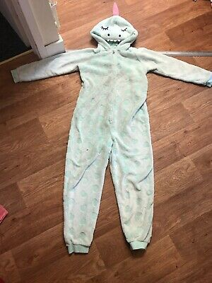 Girls Green Aqua Bedsuit/All In One Suit From George Size 10-11 Years