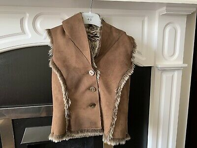 Girls MARKS & SPENCER BROWN FAUX FUR GILET BODY WARMER COAT KIDS AGE 5-6 YEARS