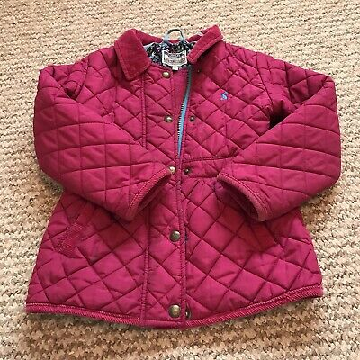 JOULES Girls Little Joules Pink Padded Floral Lined Jacket Coat - Age 5 Years