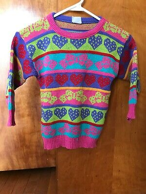 Vtg Pastel Girl Acrylic Sweater Bow Heart Little 80s 90s VGC Youth Sz 8-10-12