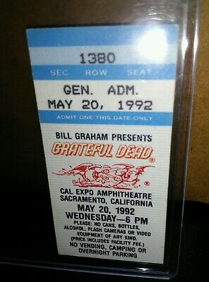 Grateful Dead Ticket Stub, Cal Expo, 05/20/1992, Sacramento, California