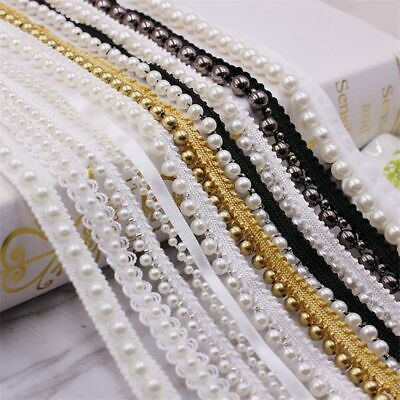 OFF WHITE 30mm LACE W// ACRYLIC PEARL TRIM SEW ON SEWING HL2218 1 METRE IVORY