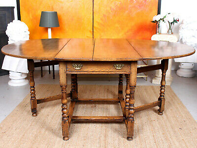 Large Antique Oak Gateleg Dining Table Antique Extending Country Arts Crafts
