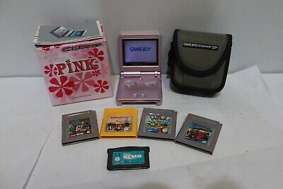 Nintendo GAMEBOY Advance SP Console Pearl Pink BOXED + 5 Games - 205