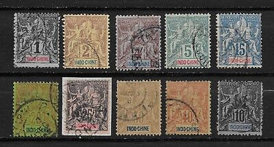 Indochine Francaise Lot 10 Timbres Obliteres Type Groupe Valeur 50 Euros
