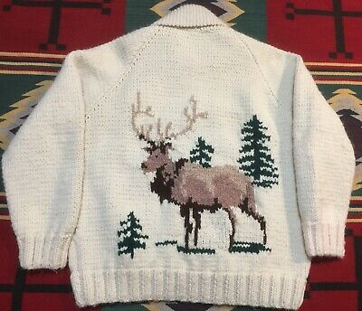 Vintage Hand Knit Elk Cowichan Shawl Collar Sweater Cardigan Extra Large!!!