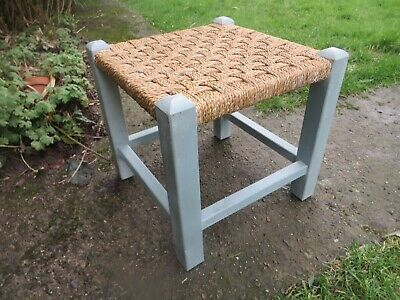 Vintage Retro  Hessian Painted Wooden Foot Stool rustic.