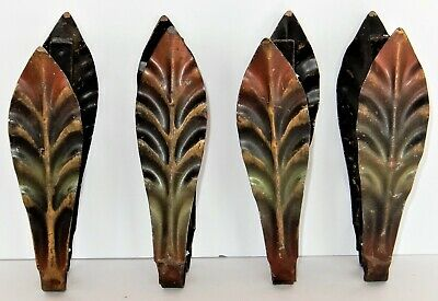 4 Matching Sets (8) Vintage Metal Curtain Drapery Tie Backs~Painted Leaves~7.5""