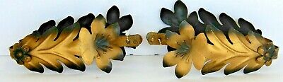 2 Matching Sets (4) Vintage Metal Curtain Drapery Tie Backs~Leaves Flowers~5.5""