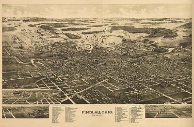 Findlay Ohio panorama c1889 map 36x24