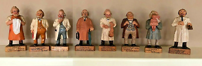 Lot of 8 VIntage Georg Heisswolf Rothenburg Wooden Carved Doctors