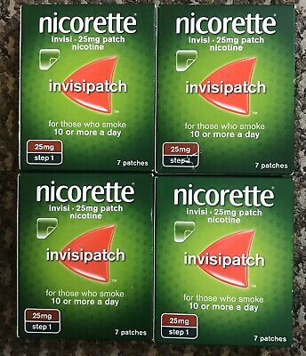 Nicorette Step 1 25mg Invisi  Pack of 7X4=28 Patches Quit Smoking Patches 25%off