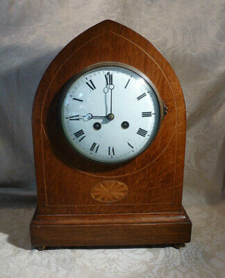 Antique Lancet Top Inlaid Oak Mantle Clock Vincent De Cie Striking Movement 12""