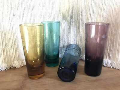 4 Vintage Crystal Etched Shot / Aperitif / Cordial Glasses