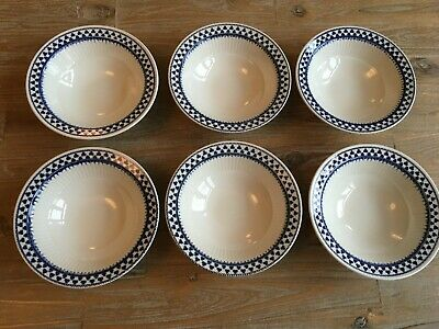 Adams English Ironstone Brentwood Blue & White Cereal / Desert Bowls X 6