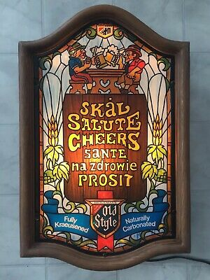 Vintage Old Style Beer Lighted Sign Cheers  Tavern Bar Stained Glass Style WORKS