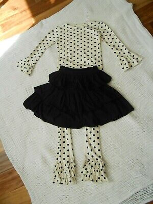 Persnickety 3 Piece Set Black and Polka Dots Size 7/8